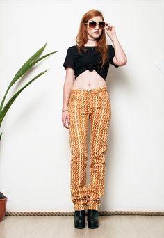 90s orange print regular waist Crocker jeans