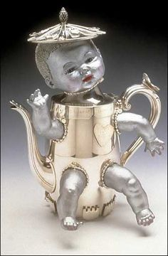 """""""I'm a Little Teapot"""" (2000), Cheryl Frances George Harry Sanders composed the ditty """"I'm a Little Teapot"""" in 1939, but artists had been crafting teapots in the human form for nearly two centuries by then. Frances's sweet and mildly gaudy version, made from doll parts and silver, distills Sanders's idea into a half-child, half-teapot. You can almost hear it piping """"tip me over and pour me out."""""""