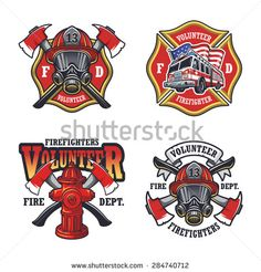 Set of firefighter emblems, labels, badges and logos on light background. - stock vector