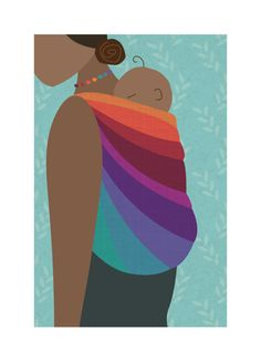 Babywearing Art Print Back Carry Rainbow Baby Sling Giclee Art Print Gift - pinned by pin4etsy.com