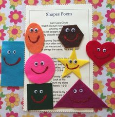 SHAPES FELT BOARD STORY/SONG..... Story/Song features eight cute shapes all decorated with glitter paint and goggly eyes to use in singing this