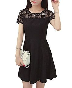 Amoluv Women Round Neck Short Sleeve Pleated Lace Slim Dress (Black 2) - http://our-shopping-store.com
