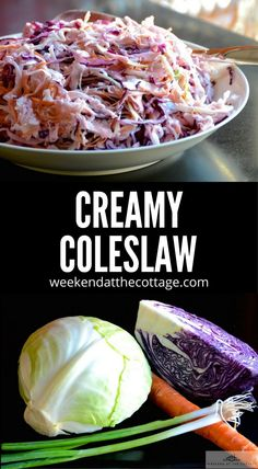 Thin-shaved veggies tossed in a light but smooth dressing make this CREAMY COLESLAW a favourite everyone will enjoy. It's a great make ahead recipe that goes with chicken, pork, and beef! #salad #coleslaw #superbowlfood #sidedish