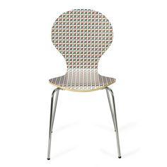 Chaise rétro à motifs bleu, vert et rouge Rouge/bleu - Marly - Chaises - Tables et chaises - Salon et salle à manger - Décoration d'intérieur - Alinéa
