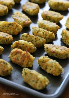 """Cauliflower Tots   Skinnytaste - these were awesome! Will says they are good enough to be """"game day"""" food. My 2 year old loved them too"""