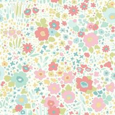 York Wallcoverings Dwell Studio Baby & Kids Posey Sidewall Multicolor Wallpaper in Red/Blue/Green, Whimsical