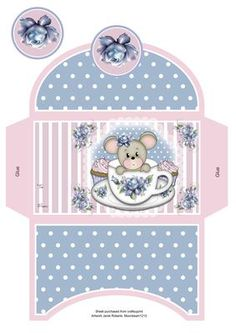 Teacup Mouse Money Wallet on Craftsuprint designed by Janet Roberts - This cute money wallet goes with my 'Teacup Mouse' Mini kit ...... see the link below - Now available for download!