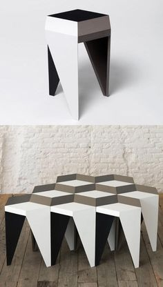 The Rayuela stool by Alvaro Catalán de Ocón design studio in Madrid Spain. The stool can be combined with others like it to create Escher-esque patterns for your sitting pleasure. Living Furniture, Furniture Decor, Furniture Design, Diy Stool, Traditional Tile, Small Apartment Design, Hand Painted Furniture, Clever Design, Furniture Inspiration