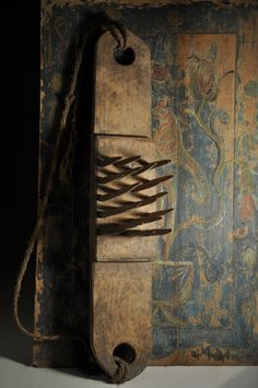 "Lithuania. Flax/hemp hackle, 19th century, wooden teeth. 27"" x 6"""