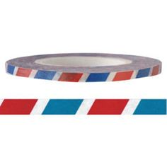 Red & Blue Stripe Washi Tape 3mm X 15M by pikwahchan on Etsy, $2.00