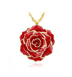 Red Rose Pendant Rose Necklace, Best Gift for Valentine's Day, Mother's Day, Anniversary, Birthday Gift