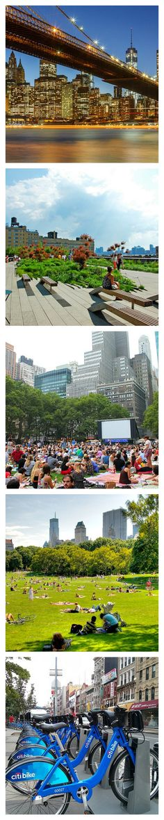 11 Ways to Enjoy a New York City Summer ....... 1. Brunch in a sunny cafe. 2. Central Park. 3. Take a cruise around Manhattan 4. Walk the Brooklyn Bridge 5. Walk the Highline 6.Bike the city 7.Union Square farmer's market 8.Top of the rock 9. Movie Nights under the stars 10.Hit the Rooftop Bars and Beer Gardens 11. Picnic in the park...... Kur <3