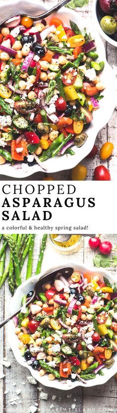 Chopped Asparagus Salad, is a healthy gluten free bean salad perfect for spring. Add some great canned tuna and hard cooked eggs to make it a main course salad. #salad #asparagus #beansalad #glutenfree #healthy #nomayo #Mediterraneandiet #weightwatchers #feta #choppedsalad #lunch #sidedish #vegetarian #vegan