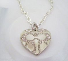 COACH HEART LOCKET NECKLACE with SWAROVSKI CRYSTALS SIGNED