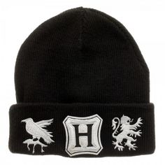 40b557d417654 Harry Potter Black Single Layer BeanieBlack knit beanie with embroidered  Hogwarts