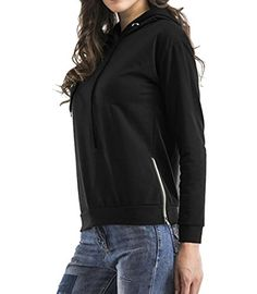 58bb848a56 SELX Women s Winter Side Zipper Long Sleeve Solid Hooded Sweatershirt Black  US XS Work Casual