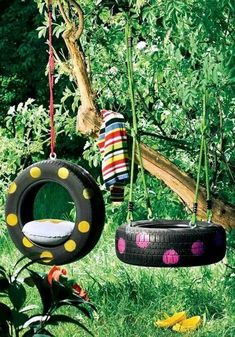 From tire swings to ottomans, there are many ways that you can repurpose old tires. Not only will you be helping the environment by reusing your old tires, you might save yourself some cash by making something that you want or need rather than buying it. Backyard Playground, Backyard Games, Backyard Ideas, Landscaping Ideas, Playground Ideas, Backyard Designs, Kid Backyard, Backyard Obstacle Course, Outdoor Games