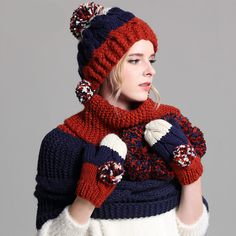 Fashion color block hat scarf and gloves set for women with hairball