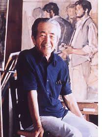 Japanese painter KOISO Ryohei (1903-1988),  小磯良平, at his studio.