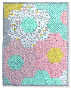"Monsterz Hexagon Baby Quilt - 34"" X 44"" - pieced - takes 1 or 2 weeks - easy - FREE QUILTED PATTERN"