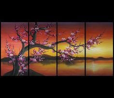 Wall Art Decor Feng Shui Painting Chinese Cherry Blossom Painting