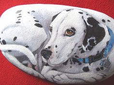 A custom Pet Portrait on a River Stone.  This was made for a wonderful customer who just recently lost her loved Dalmatian.