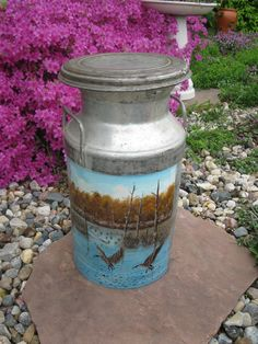 Metal Milk Can- Cream Can- Handpainted goose scene - garden Decor- Planter- Dairy Can- Garden ornament - storage container - yard art by oakiesclaptrap on Etsy