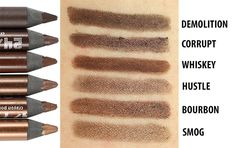 Urban Decay 24/7 Glide-On Eye Pencil Review & Comparison Swatches - brown