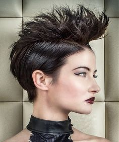 short black straight coloured spikey quiff hairstyles for women