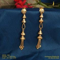 Golden Jhumkis with Golden tassles. Get In Touch With us on Gold Jhumka Earrings, Gold Bridal Earrings, Jewelry Design Earrings, Gold Earrings Designs, Gold Jewellery Design, Designer Earrings, Small Earrings, Girls Earrings, Beaded Jewelry