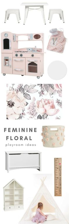 Feminine floral playroom ideas. Girls nursery ideas. Girly kids decor with floral wallpaper, a pink play kitchen, adorable storage and dreamy toys. Playroom ideas. Nursery ideas. #playroom