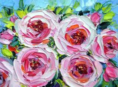 Original ACEO Oil Painting Rose Floral Flower Garden by NuFineArt5