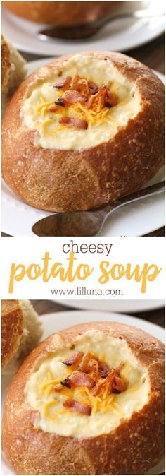 wont find an easier Cheesy Potato Soup Recipe anywhere else Just throw a small handful of ingredients in the crockpot and a few hours later youll have a creamy delicious. Cheesy Potato Soup, Cheesy Potatoes, Potato Soup Panera, Baked Potatoes, Cooker Recipes, Soup Recipes, Dinner Recipes, Bread Bowl Recipes, Bread Bowls For Soup