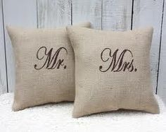 """Burlap. Easy stencil project <3 I made a burlap pillow stenciled """"Forever"""" last year.. Time to perfect my stenciling abilities...I could put each of the boys' names on them! So clever!"""