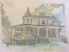 Day 29, 30 in 30, Watercolor and Ink, This Old Yellow House by Jill Martin-Golden http://jillraefinallyart.blogspot.com/2014/10/day-29-watercolors-and-pen-yellow-house.html