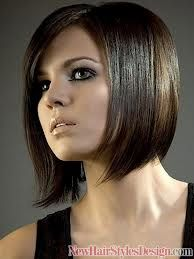 "Vertical and diagonal lines will slenderize.  Back comb at crown to give lift, but avoid ""big"" sides.  Notice tapering and diagonal perimeter of this dramatic bob.  Great color!"