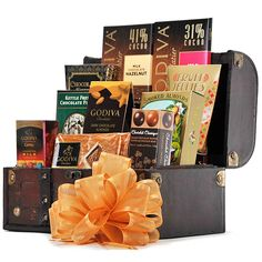 The Godiva and More Chest - Gourmet Gift Baskets For All Occasions Chocolate Sweets, Chocolate Gifts, Chocolate Truffles, Chocolate Lovers, Hot Chocolate, Chocolate Chip Cookies, Truffles For Sale, Champagne Gift Baskets, Chocolate Covered Almonds