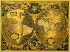 vintage world map tattoo.