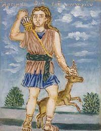 Artemis, the Hunting Goddess by Theofilos (Hadjimichail) Herakleidon Museum in Greece
