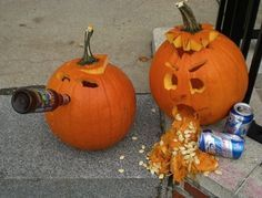 HAHA Toupée Pumpkin is surrounded by enablers. | Community Post: 28 Pumpkins Who Are Clearly Alcoholics