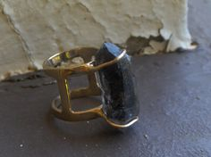 The Menhir of Thoth. Double Terminated Black Quartz and recycled 10 k gold ooak armour style double  ring handmade by Chymiera on Etsy, £403.53