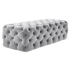 Tov Furniture Kaylee Ottoman Grey Velvet | Tov Furniture | LoftModern