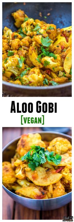 Aloo Gobi - Potatoes and cauliflower cooked with onion, tomatoes & spices is a popular Indian recipe. #vegetarian #indian #vegan