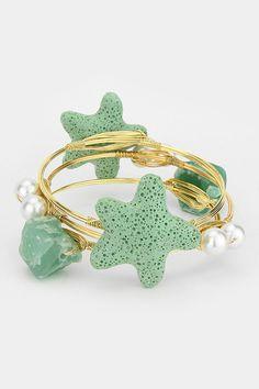 Lava Stone Starfish Bracelet on Emma Stine Limited