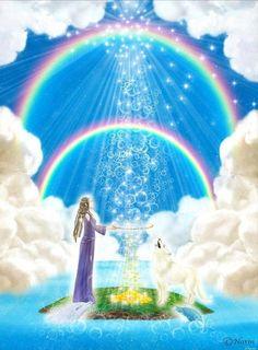 Spiritual rose of silence: Nieuwe maan, het lichtfeest is begonnen Angel Clouds, Spiritual Paintings, Rainbow Warrior, Spirited Art, Mandala, Law Of Attraction Affirmations, Visionary Art, Sacred Art, Beautiful Roses