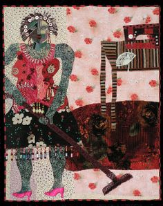 Contemporary art quilt. fabric collage A rosy red by Pamelart, $2500.00