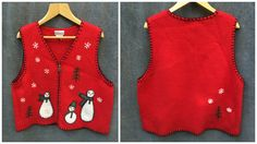 Beautiful Ugly Holiday Vest, Christmas Red with Snowmen by Coldwater Creek // Size XL by ElkHugsVintage on Etsy