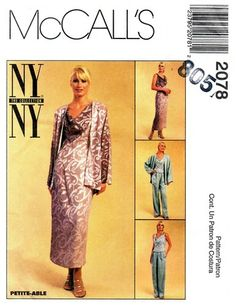 McCall's 2078 Fancy Dress or Top, Jacket & Pants 1999 Fancy Dress, Duster Coat, Sewing Patterns, Pants, Jackets, Collection, Tops, Dresses, Fashion