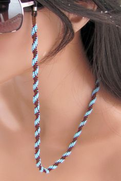 Beaded Rope Eyeglass Leash  Turquoise and by CreationsbyWhiteWolf, $27.00