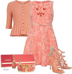 """""""Completely Coral"""" by christa72 on Polyvore"""